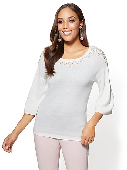 Faux-Pearl Sweater - Ivory - New York & Company