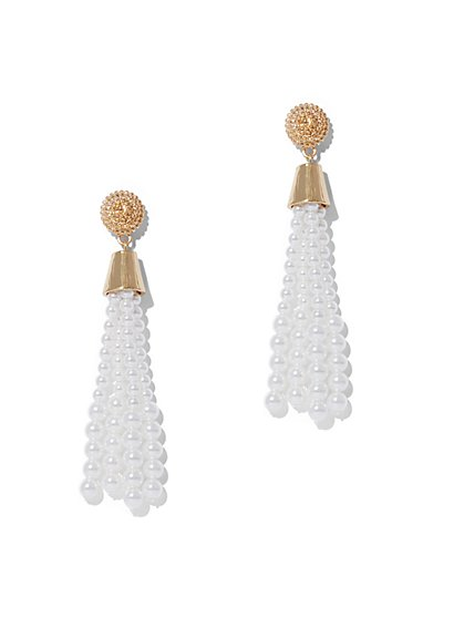 Faux-Pearl Tassel Earring - New York & Company