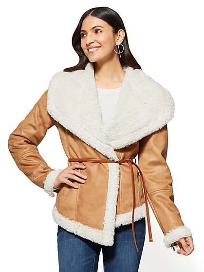 Faux-Shearling Shawl-Collar Jacket - New York & Company