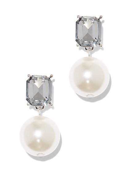 Faux-Stone & Faux-Pearl Drop Earring - New York & Company