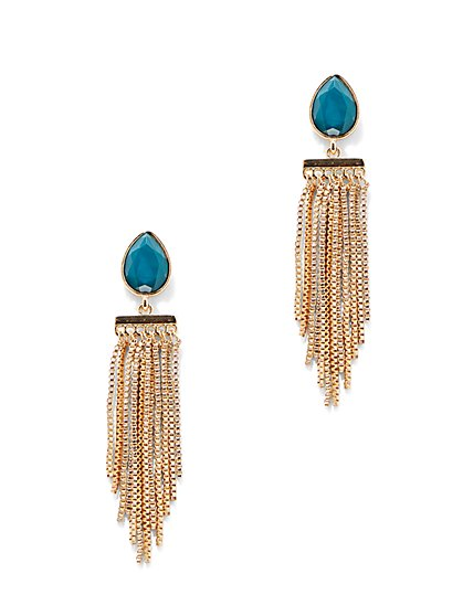 Faux-Stone Fringe Drop Earring  - New York & Company