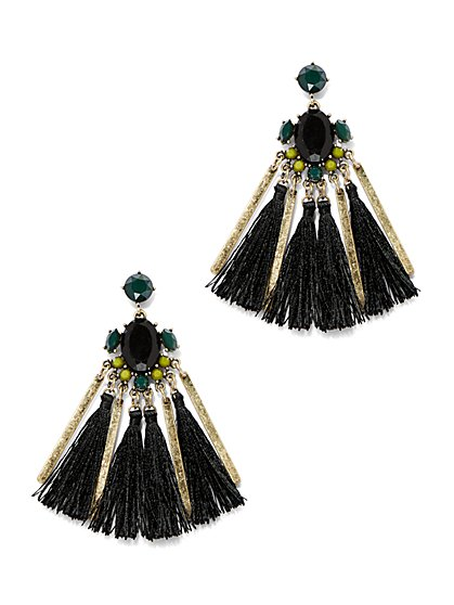 Faux-Stone Tassel Drop Earring  - New York & Company