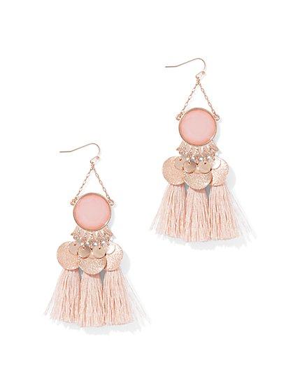 Faux-Stone & Tassel Drop Earring - New York & Company