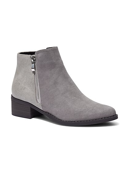 Faux Suede & Faux Leather Ankle Boot  - New York & Company