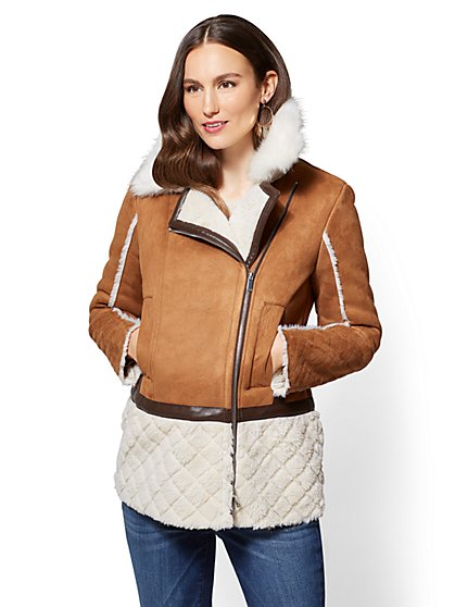 Faux-Suede & Faux-Shearling Coat - New York & Company