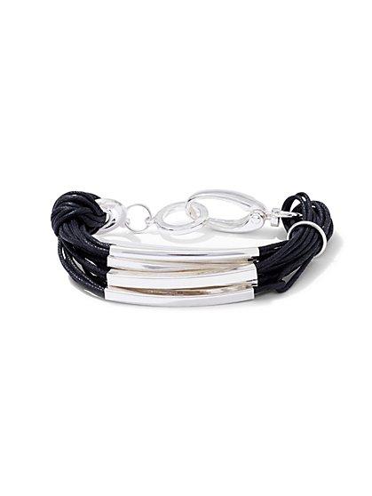Faux-Suede & Goldtone Bar Bracelet  - New York & Company