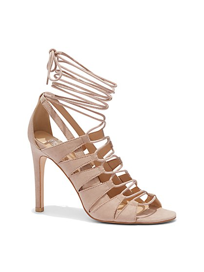 Faux-Suede Lace-Up Sandal - New York & Company