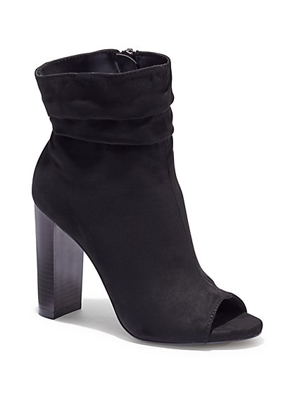 Faux-Suede Open-Toe Bootie - New York & Company
