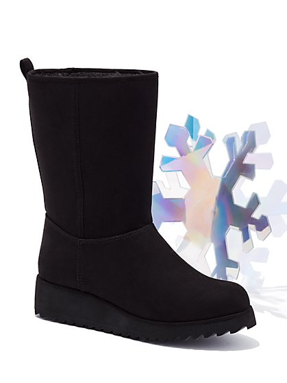 Faux-Suede Sherpa Boot - New York & Company