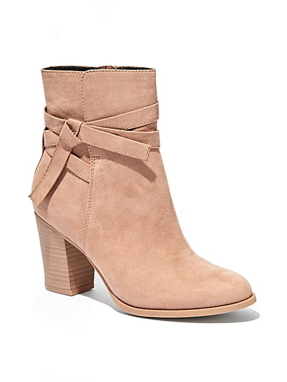 Faux-Suede Stacked-Heel Bootie  - New York & Company