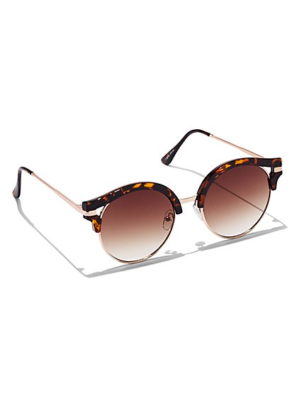 Faux-Tortoise Frame Sunglasses  - New York & Company