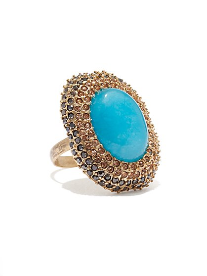 Faux Turquoise Cocktail Ring  - New York & Company