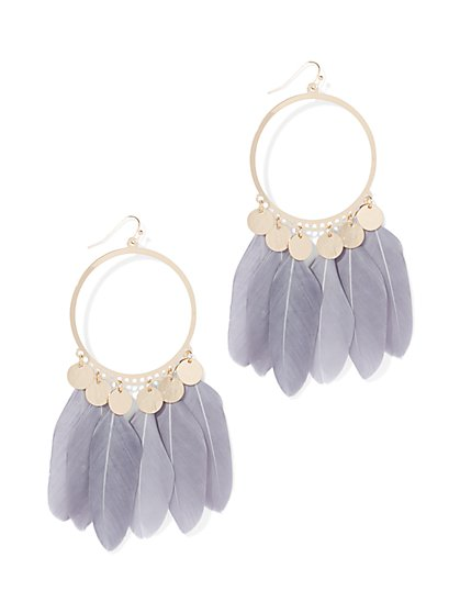 Feather-Accent Hoop Drop Earring - New York & Company