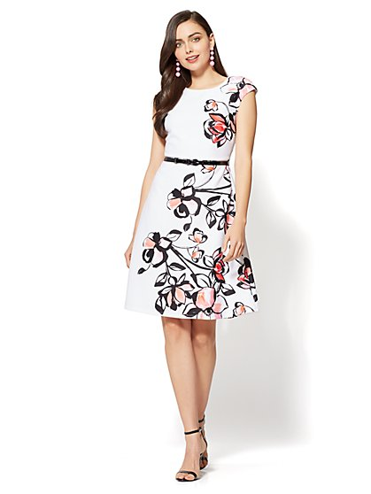 Fit & Flare Dress - White - Floral Print - New York & Company