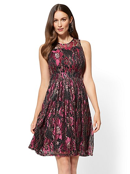 Fit and Flare Floral Lace Overlay Dress - New York & Company