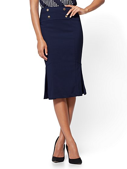 Fit and Flare Skirt  - All-Season Stretch - Navy - New York & Company