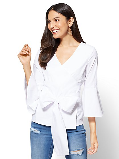Flared-Sleeve Poplin Wrap Shirt - New York & Company