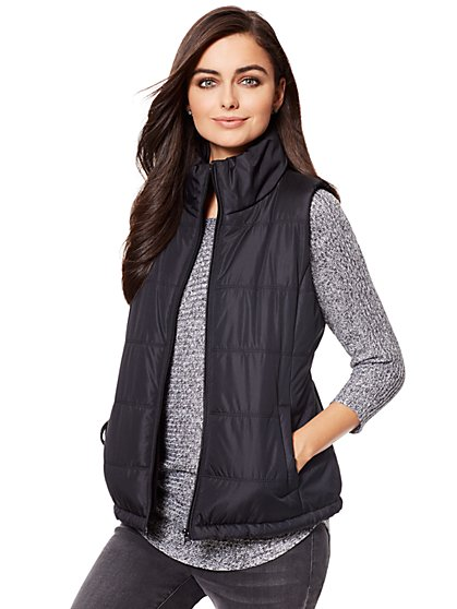 Fleece-Lined Puffer Vest - New York & Company