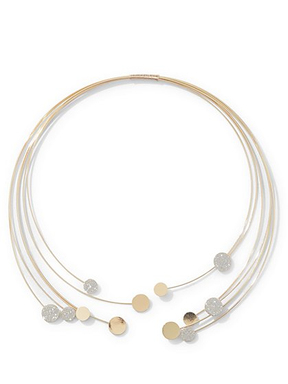 Floating Disk Goldtone Collar Necklace  - New York & Company
