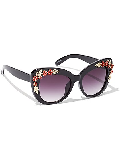 Floral-Accent Sunglasses - New York & Company
