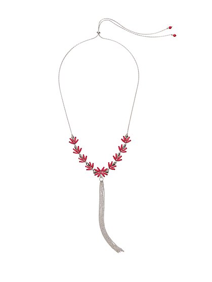 Floral-Accent Tassel Pendant Necklace  - New York & Company