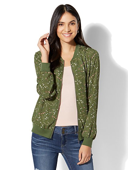 Floral Bomber Jacket - Forest Green - New York & Company
