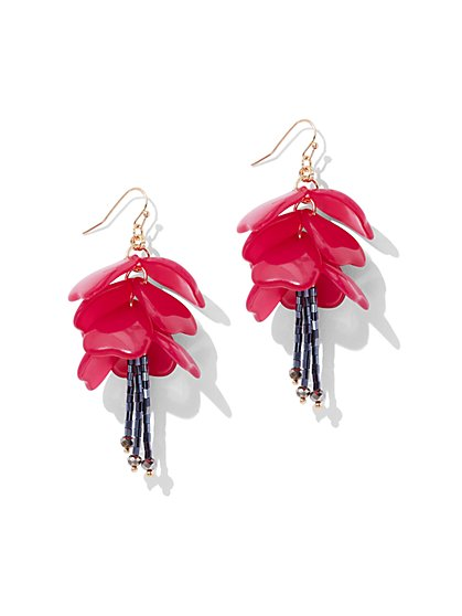 Floral Drop Earring - Fuchsia - New York & Company