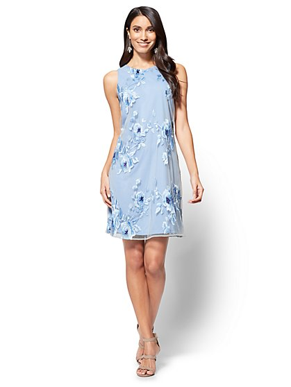 Floral-Embroidered Shift Dress - New York & Company