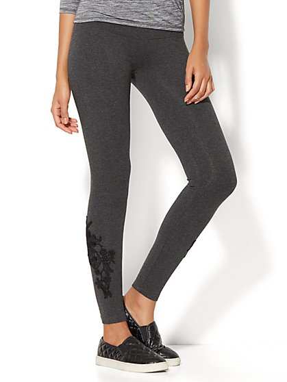 Floral Lace-Accent Legging - New York & Company