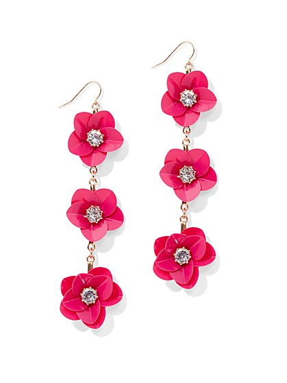 Floral Linear Drop Earring - Pink - New York & Company