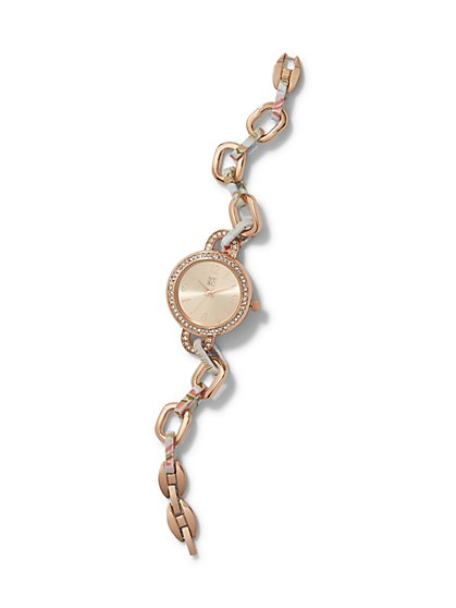 Floral Open-Link Bracelet Watch  - New York & Company