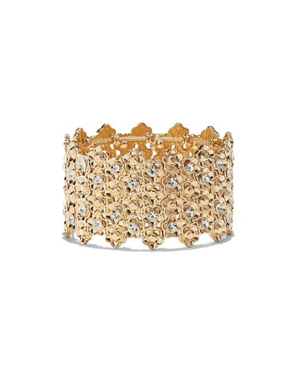 Floral Stretch Cuff Bracelet  - New York & Company