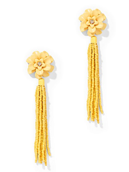 Floral Tassel Drop Earring  - New York & Company