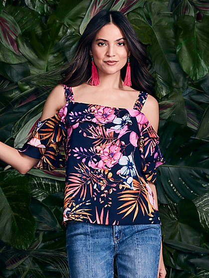 Flounced Cold-Shoulder Blouse - Floral - New York & Company