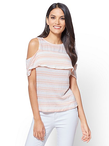 Flounced Cold-Shoulder Top - Stripe - New York & Company