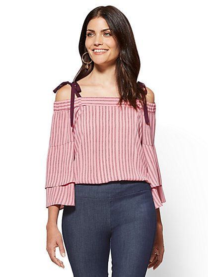 Flounced Off-The-Shoulder Blouse - Pink - Stripe - New York & Company