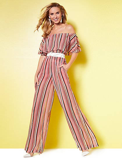 Flounced Off-The-Shoulder Jumpsuit - Stripe - New York & Company