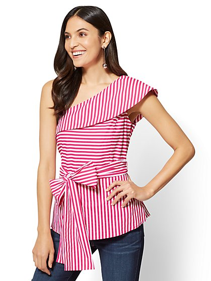 Flounced One-Shoulder Poplin Shirt - Pink & White Stripe  - New York & Company