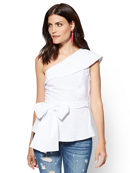 Flounced One-Shoulder Poplin Shirt - White  - New York & Company