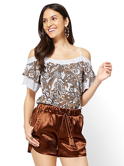 Flounced-Sleeve Cold-Shoulder Blouse - Floral Print - New York & Company
