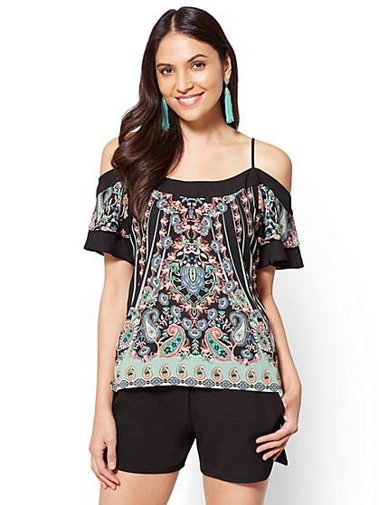 Flounced-Sleeve Cold-Shoulder Blouse - Mixed Print - New York & Company