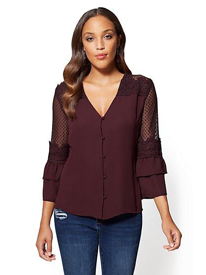 Flounced-Sleeve V-Neck Blouse - New York & Company