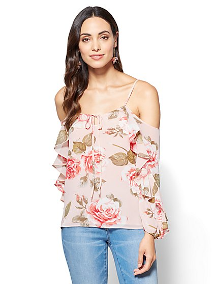 Flutter-Sleeve Cold-Shoulder Blouse - Floral  - New York & Company