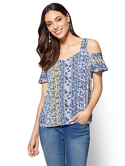 Flutter-Sleeve Cold Shoulder Blouse - Floral - New York & Company