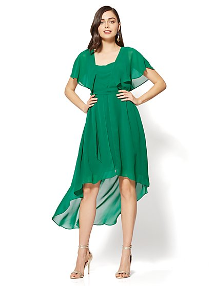 Flutter-Sleeve Hi-Lo Dress - Green - New York & Company