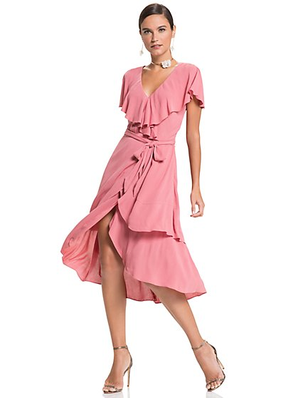 Flutter-Sleeve Wrap Dress - New York & Company