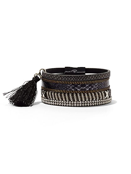 Four-Row Tassel Bracelet - Black  - New York & Company