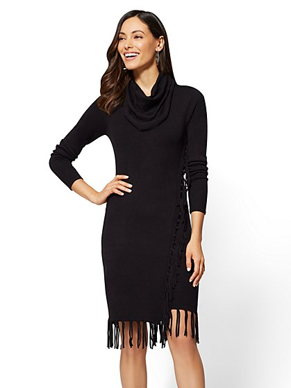 Fringe-Trim Cowl-Neck Sweater Dress - New York & Company