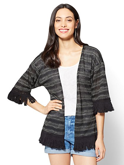 Fringe-Trim Kimono Jacket - New York & Company