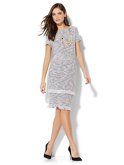Fringed Bouclé Short-Sleeve Dress - New York & Company
